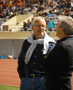 New Athletic Director Daniel Escalera awaits the kickoff at last Friday's football game. (The Samohi/Sam Boloorchi)