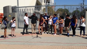 Homecoming candidates gave speeches in the Science Quad to gain attention from voters.