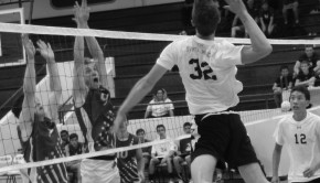 Outside hitter Tyler Goodman ('15) lines up to hit late in the game against Culver City High School.