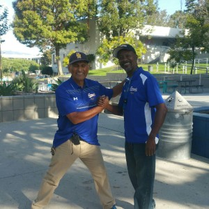 PARTNERS ON THE JOB:  Day custodian Jorge Bracamonte worked with Jeff Peoples to keep our campus clean.