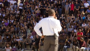 Dr. Shelton addresses  the crowd of hundreds of students as they sit in the Greek on Nov. 9 to protest the election of Donald J. Trump as President of the United States.
